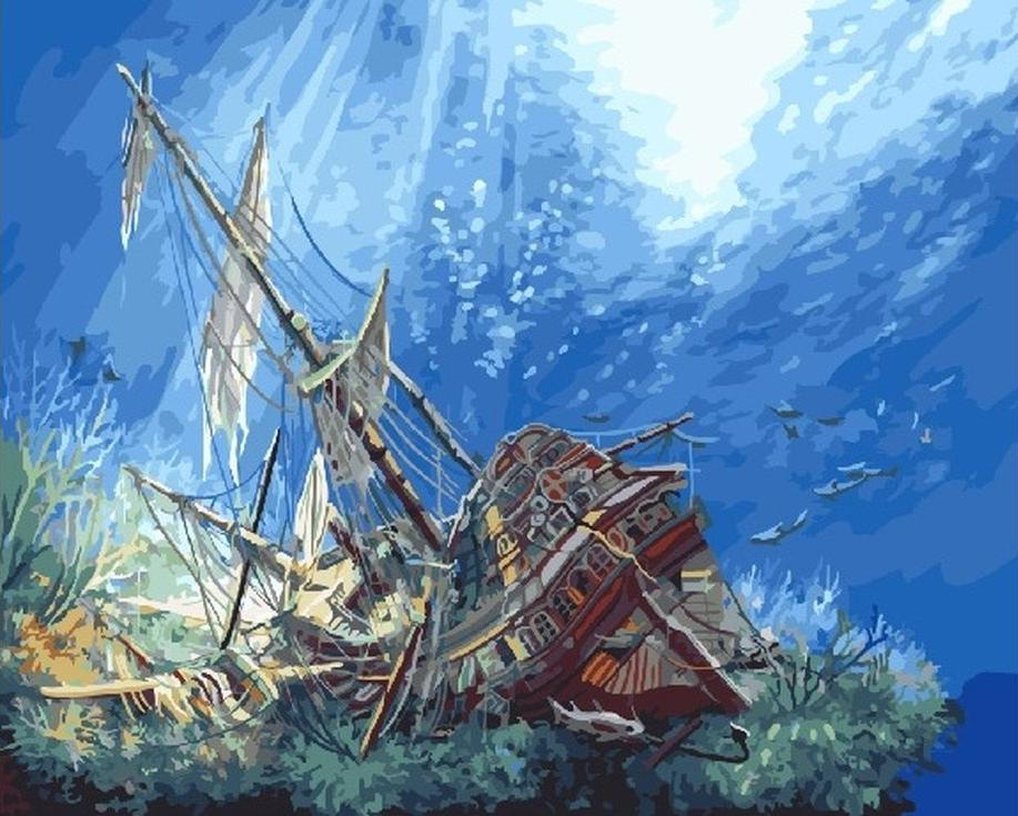 «Затонувший корабль»Раскраски по номерам Paintboy (Original)<br><br><br>Артикул: GX3621_R<br>Основа: Холст<br>Сложность: сложные<br>Размер: 40x50 см<br>Количество цветов: 28<br>Техника рисования: Без смешивания красок