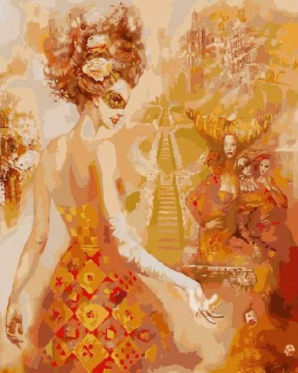 Картина по номерам «Венецианский карнавал» Олега ЧубаковаРаскраски по номерам Paintboy (Original)<br><br><br>Артикул: GX3763_R<br>Основа: Холст<br>Сложность: средние<br>Размер: 40x50 см<br>Количество цветов: 24<br>Техника рисования: Без смешивания красок