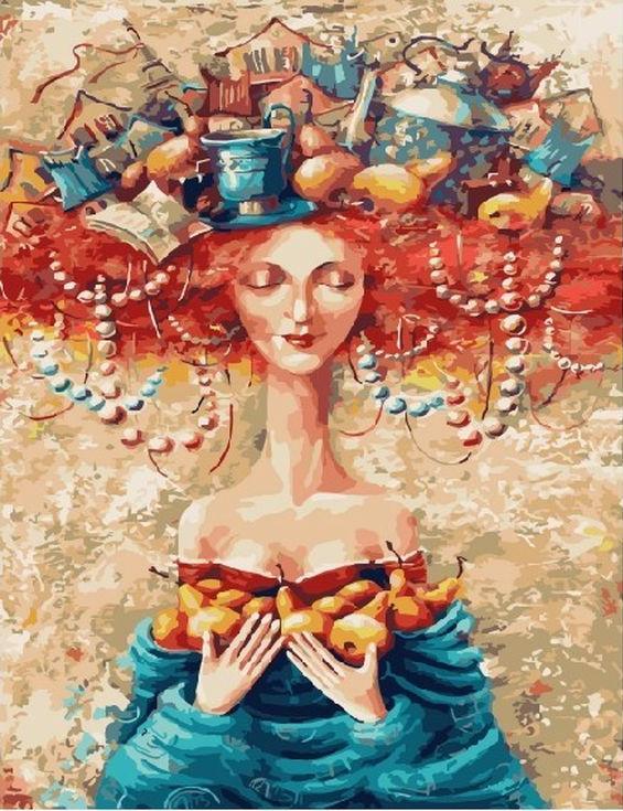 Картина по номерам «Женские мысли» Яны ФефеловойРаскраски по номерам Paintboy (Original)<br><br><br>Артикул: GX3774_R<br>Основа: Холст<br>Сложность: средние<br>Размер: 40x50 см<br>Количество цветов: 24<br>Техника рисования: Без смешивания красок