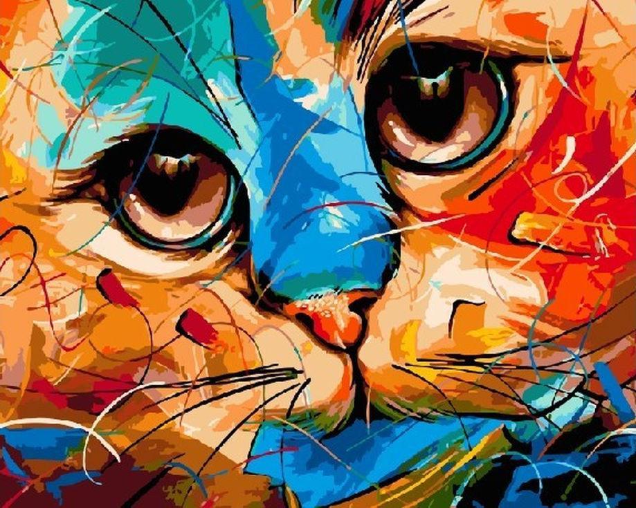 Картина по номерам «Абстрактный кот» Наушада ВахидаРаскраски по номерам Paintboy (Original)<br><br><br>Артикул: GX3935_R<br>Основа: Холст<br>Сложность: средние<br>Размер: 40x50 см<br>Количество цветов: 24<br>Техника рисования: Без смешивания красок