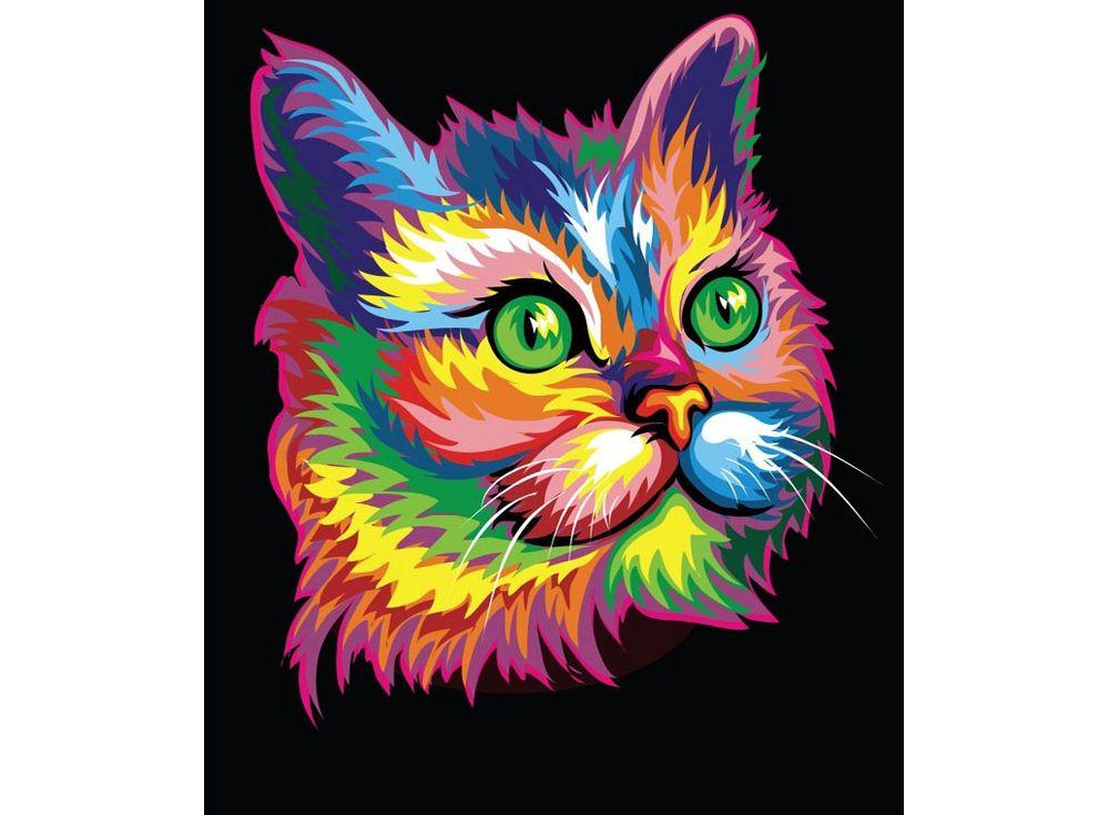 «Радужный кот»Paintboy (Premium)<br><br><br>Артикул: GX3974<br>Основа: Холст<br>Сложность: легкие<br>Размер: 40x50 см<br>Количество цветов: 16<br>Техника рисования: Без смешивания красок