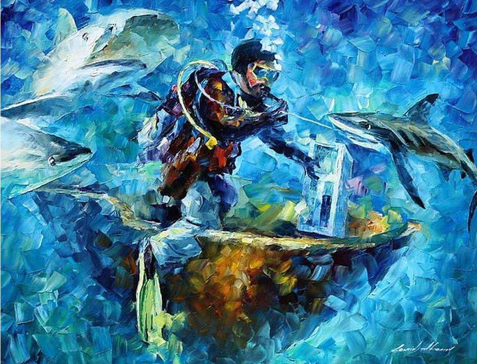 «Под водой» Леонида АфремоваРаскраски по номерам Paintboy (Original)<br><br><br>Артикул: GX4077_R<br>Основа: Холст<br>Сложность: средние<br>Размер: 40x50 см<br>Количество цветов: 24<br>Техника рисования: Без смешивания красок