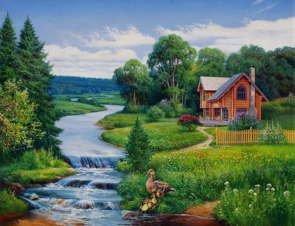 «Домик у реки»Paintboy (Premium)<br><br><br>Артикул: GX4245<br>Основа: Холст<br>Размер: 40x50 см<br>Техника рисования: Без смешивания красок
