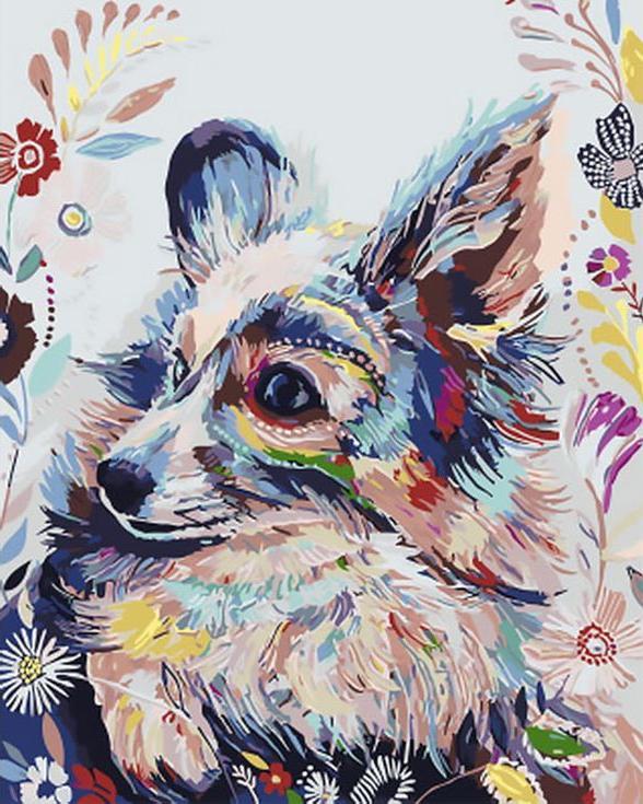 Картина по номерам «Цветочный пес» Старлы МишельРаскраски по номерам Paintboy (Original)<br><br><br>Артикул: GX4275_R<br>Основа: Холст<br>Сложность: средние<br>Размер: 40x50 см<br>Количество цветов: 24<br>Техника рисования: Без смешивания красок