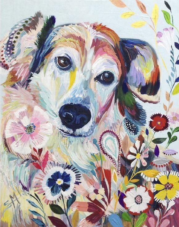 Картина по номерам «Цветочная собака» Старлы МишельРаскраски по номерам Paintboy (Original)<br><br><br>Артикул: GX4298_R<br>Основа: Холст<br>Сложность: средние<br>Размер: 40x50 см<br>Количество цветов: 24<br>Техника рисования: Без смешивания красок