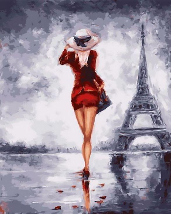 «Парижанка»Раскраски по номерам Paintboy (Original)<br><br><br>Артикул: GX4338_R<br>Основа: Холст<br>Сложность: средние<br>Размер: 40x50 см<br>Количество цветов: 24<br>Техника рисования: Без смешивания красок