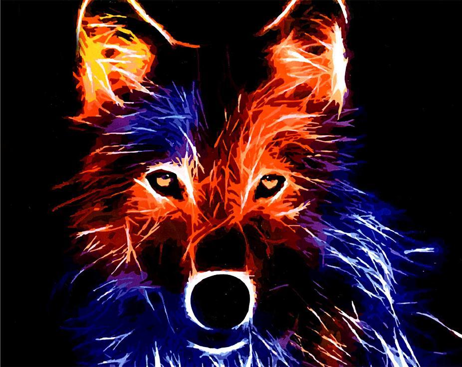 «Неоновый волк»Paintboy (Premium)<br><br><br>Артикул: GX4485<br>Основа: Холст<br>Сложность: средние<br>Размер: 40x50 см<br>Количество цветов: 24<br>Техника рисования: Без смешивания красок