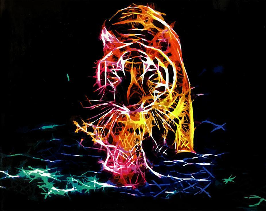 «Неоновый тигр»Paintboy (Premium)<br><br><br>Артикул: GX4486<br>Основа: Холст<br>Сложность: средние<br>Размер: 40x50 см<br>Количество цветов: 24<br>Техника рисования: Без смешивания красок