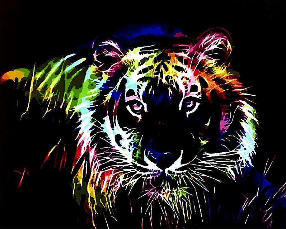 «Неоновый хищник»Paintboy (Premium)<br><br><br>Артикул: GX4492<br>Основа: Холст<br>Сложность: средние<br>Размер: 40x50 см<br>Количество цветов: 22<br>Техника рисования: Без смешивания красок