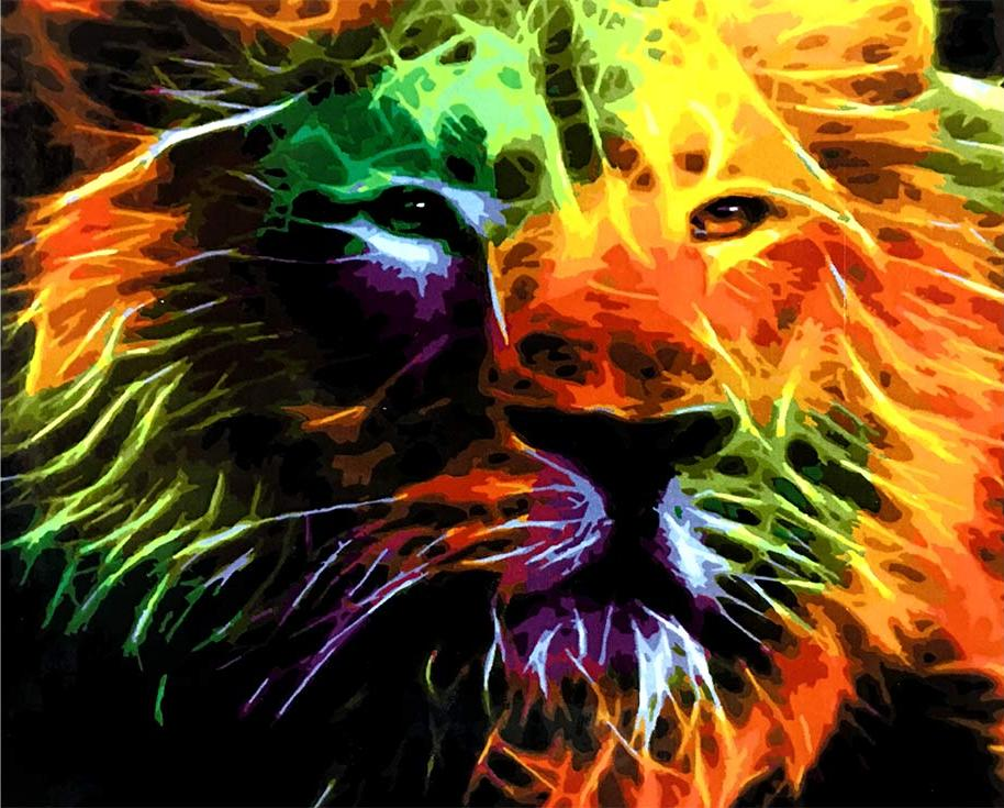 «Неоновый лев»Paintboy (Premium)<br><br><br>Артикул: GX4605<br>Основа: Холст<br>Сложность: сложные<br>Размер: 40x50 см<br>Количество цветов: 32<br>Техника рисования: Без смешивания красок