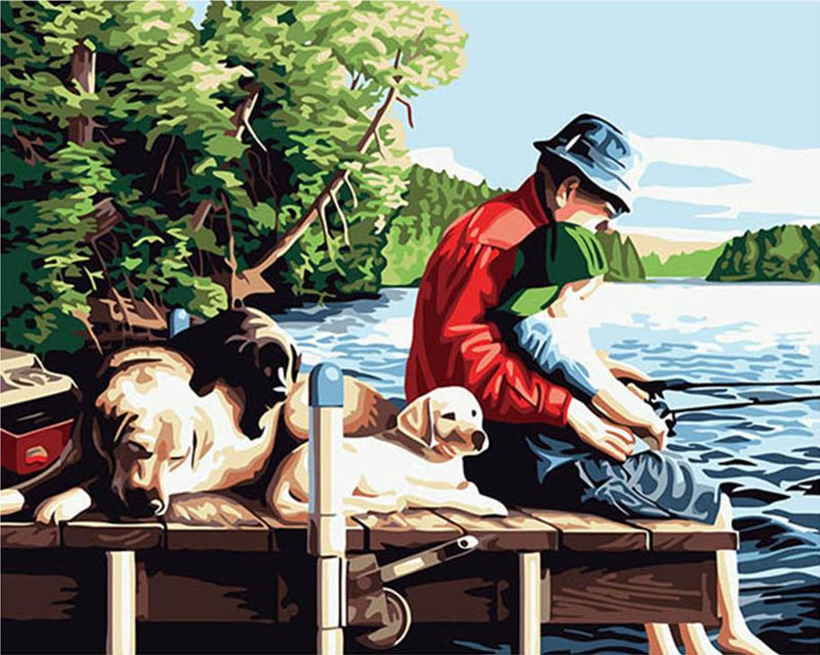Картина по номерам «На рыбалке» Кевина ДаниэляРаскраски по номерам Paintboy (Original)<br><br><br>Артикул: GX6076_R<br>Основа: Холст<br>Сложность: средние<br>Размер: 40x50 см<br>Количество цветов: 24<br>Техника рисования: Без смешивания красок