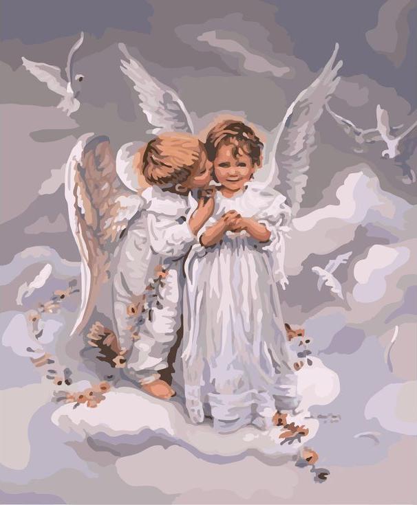 «Поцелуй ангела» Сандры КукPaintboy (Premium)<br><br><br>Артикул: GX6498<br>Основа: Холст<br>Сложность: сложные<br>Размер: 40x50 см<br>Количество цветов: 30<br>Техника рисовани: Без смешивани красок