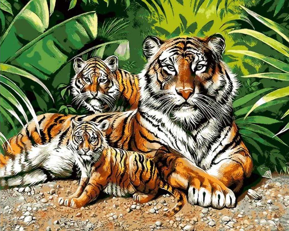 Картина по номерам «Тигрица с тигрятами»Paintboy (Premium)<br><br><br>Артикул: GX7157<br>Основа: Холст<br>Сложность: средние<br>Размер: 40x50 см<br>Количество цветов: 24<br>Техника рисования: Без смешивания красок