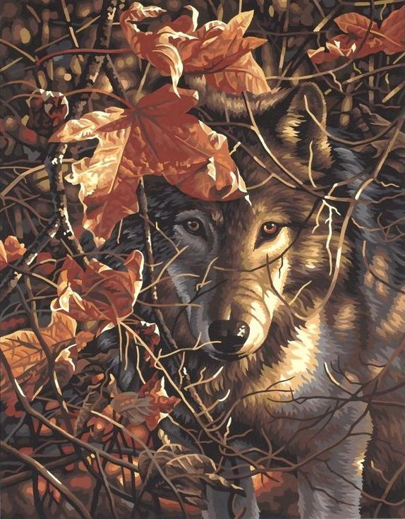«Осенний волк»Раскраски по номерам Paintboy (Original)<br><br><br>Артикул: GX7419_R<br>Основа: Холст<br>Сложность: легкие<br>Размер: 40x50 см<br>Количество цветов: 16<br>Техника рисования: Без смешивания красок