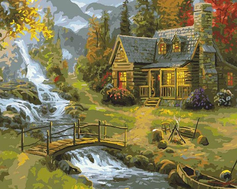 Картина по номерам «Домик в лесу» Томаса КинкейдаPaintboy (Premium)<br><br><br>Артикул: GX7793<br>Основа: Холст<br>Сложность: средние<br>Размер: 40x50 см<br>Количество цветов: 27<br>Техника рисования: Без смешивания красок
