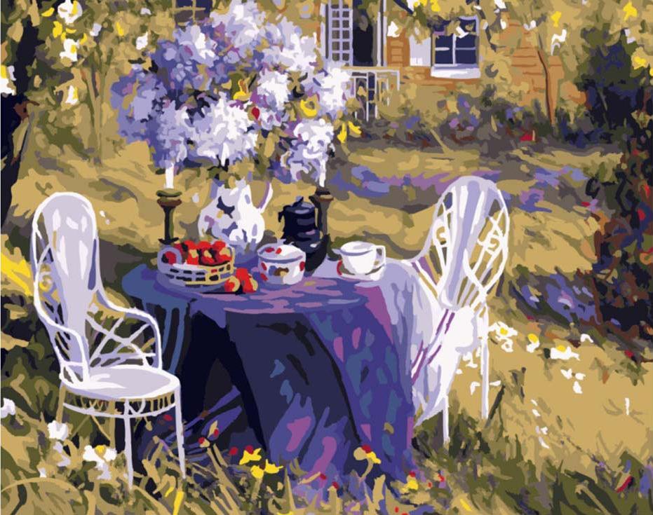 Картина по номерам «Лиловое чаепитие» Тима БенджаминаPaintboy (Premium)<br><br><br>Артикул: GX7800<br>Основа: Холст<br>Сложность: сложные<br>Размер: 40x50 см<br>Количество цветов: 25<br>Техника рисования: Без смешивания красок