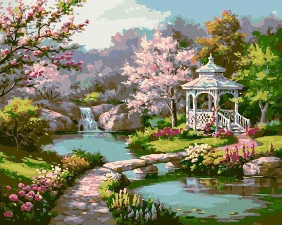 Картина по номерам «Весенний парк» Сен КимаPaintboy (Premium)<br><br><br>Артикул: GX7847<br>Основа: Холст<br>Сложность: средние<br>Размер: 40x50 см<br>Количество цветов: 25<br>Техника рисования: Без смешивания красок