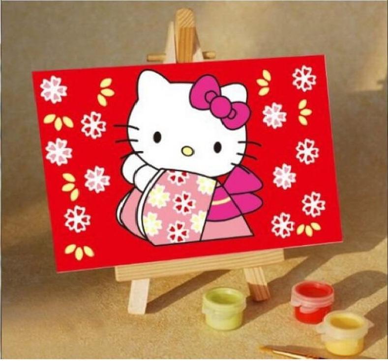 Картина по номерам «Kitti в цветах»Цветной (Premium)<br><br><br>Артикул: MA033_Z<br>Основа: Картон<br>Сложность: легкие<br>Размер: 10x15 см<br>Количество цветов: 8-10<br>Техника рисования: Без смешивания красок