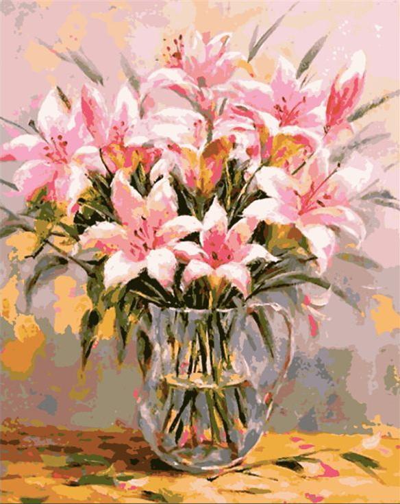 Картина по номерам «Розовые лилии» Антонио ДжанильяттиMenglei (Premium)<br><br><br>Артикул: MG-6426<br>Основа: Холст<br>Сложность: сложные<br>Размер: 40x50 см<br>Количество цветов: 25<br>Техника рисования: Без смешивания красок
