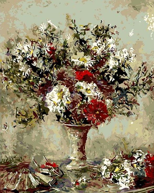 Картина по номерам «Букет в вазе» Эдуардо Леон ГарридоMenglei (Premium)<br><br><br>Артикул: MG-6597<br>Основа: Холст<br>Сложность: сложные<br>Размер: 40x50 см<br>Количество цветов: 24<br>Техника рисования: Без смешивания красок