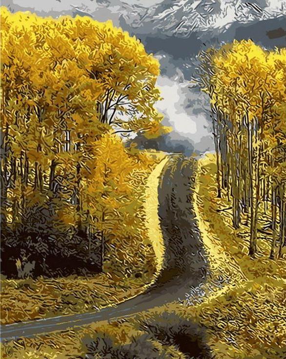 «Осенняя дорога»Раскраски по номерам Menglei (Standart)<br><br><br>Артикул: MG8177_S<br>Основа: Холст<br>Сложность: сложные<br>Размер: 40x50 см<br>Количество цветов: 24<br>Техника рисования: Без смешивания красок