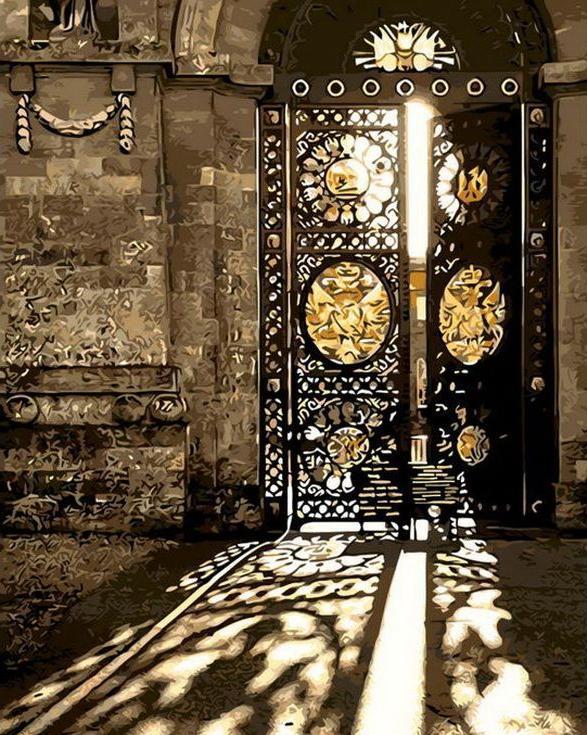 Картина по номерам «Старинные ворота»Menglei (Premium)<br><br><br>Артикул: MG-8210<br>Основа: Холст<br>Сложность: средние<br>Размер: 40x50 см<br>Количество цветов: 19<br>Техника рисования: Без смешивания красок