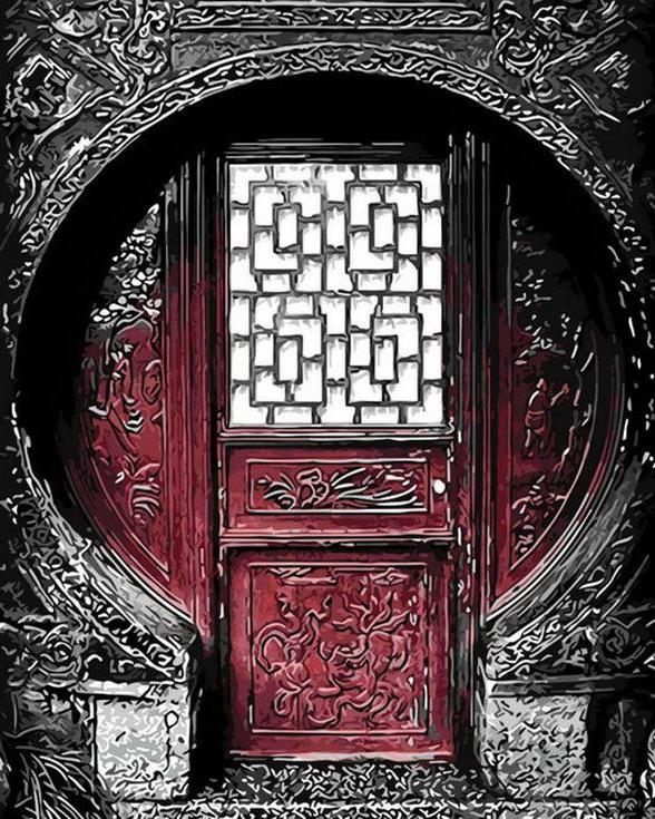 «Резная дверь»Раскраски по номерам Menglei (Standart)<br><br><br>Артикул: MG8211_S<br>Основа: Холст<br>Сложность: средние<br>Размер: 40x50 см<br>Количество цветов: 20<br>Техника рисования: Без смешивания красок