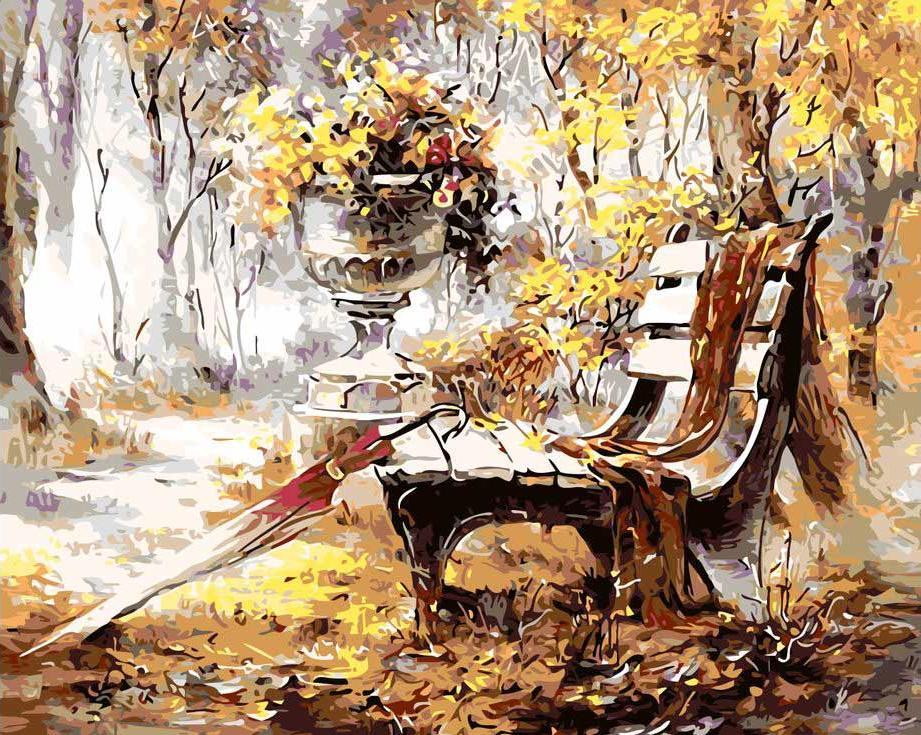 «Время листопада» Риммы ВьюговойРаскраски по номерам Menglei (Standart)<br><br><br>Артикул: MG1043_S<br>Основа: Холст<br>Сложность: средние<br>Размер: 40x50 см<br>Количество цветов: 19<br>Техника рисования: Без смешивания красок