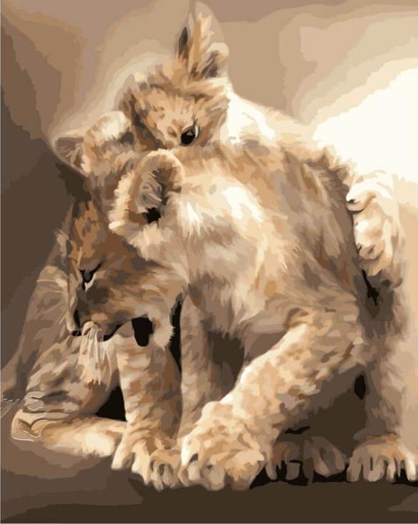 «Котята-пантерята»Цветной (Premium)<br><br><br>Артикул: MG3081_Z<br>Основа: Холст<br>Сложность: сложные<br>Размер: 40x50 см<br>Количество цветов: 25<br>Техника рисования: Без смешивания красок
