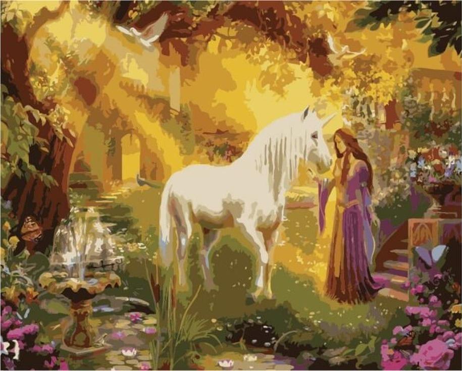 Картина по номерам «Принцесса и единорог» Яна Патрика КрасногоЦветной (Premium)<br><br><br>Артикул: MG3244_Z<br>Основа: Холст<br>Сложность: сложные<br>Размер: 40x50 см<br>Количество цветов: 25<br>Техника рисования: Без смешивания красок