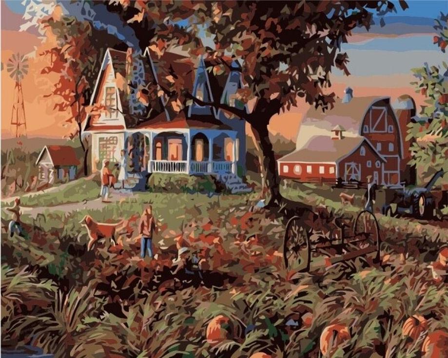 Картина по номерам «Огород с тыквами»Цветной (Premium)<br><br><br>Артикул: MG3245_Z<br>Основа: Холст<br>Сложность: сложные<br>Размер: 40x50 см<br>Количество цветов: 25<br>Техника рисования: Без смешивания красок