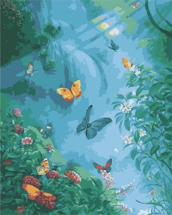 «Бабочки в тумане»Цветной (Premium)<br><br><br>Артикул: MG3248_Z<br>Основа: Холст<br>Сложность: сложные<br>Размер: 40x50 см<br>Количество цветов: 25<br>Техника рисования: Без смешивания красок