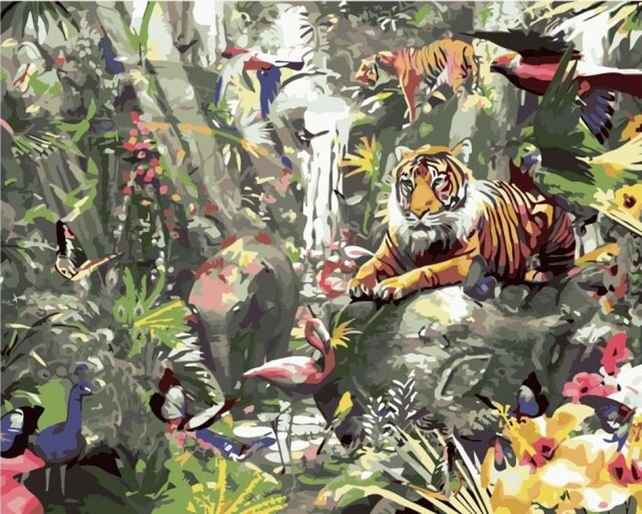 Картина по номерам «Азиатские джунгли»Цветной (Premium)<br><br><br>Артикул: MG3249_Z<br>Основа: Холст<br>Сложность: сложные<br>Размер: 40x50 см<br>Количество цветов: 25<br>Техника рисования: Без смешивания красок