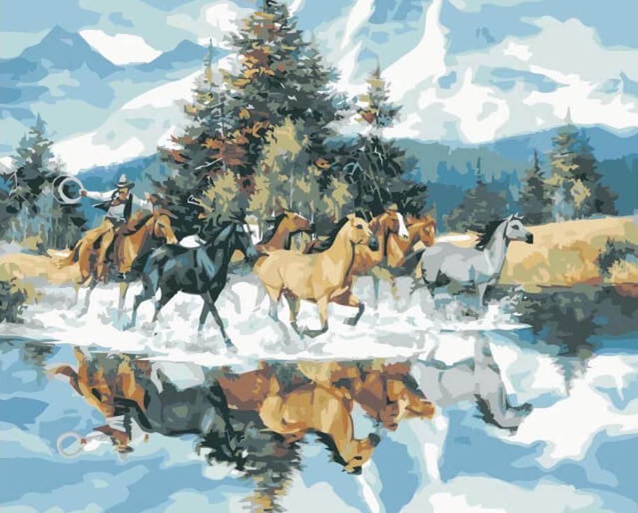 Картина по номерам «Дикие лошади» Джека СоренсонаЦветной (Premium)<br><br><br>Артикул: MG3264_Z<br>Основа: Холст<br>Сложность: сложные<br>Размер: 40x50 см<br>Количество цветов: 25<br>Техника рисования: Без смешивания красок