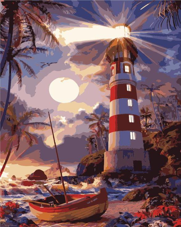 «Светящийся маяк»Раскраски по номерам Menglei (Standart)<br><br><br>Артикул: MG3265_S<br>Основа: Холст<br>Сложность: сложные<br>Размер: 40x50 см<br>Количество цветов: 23<br>Техника рисования: Без смешивания красок