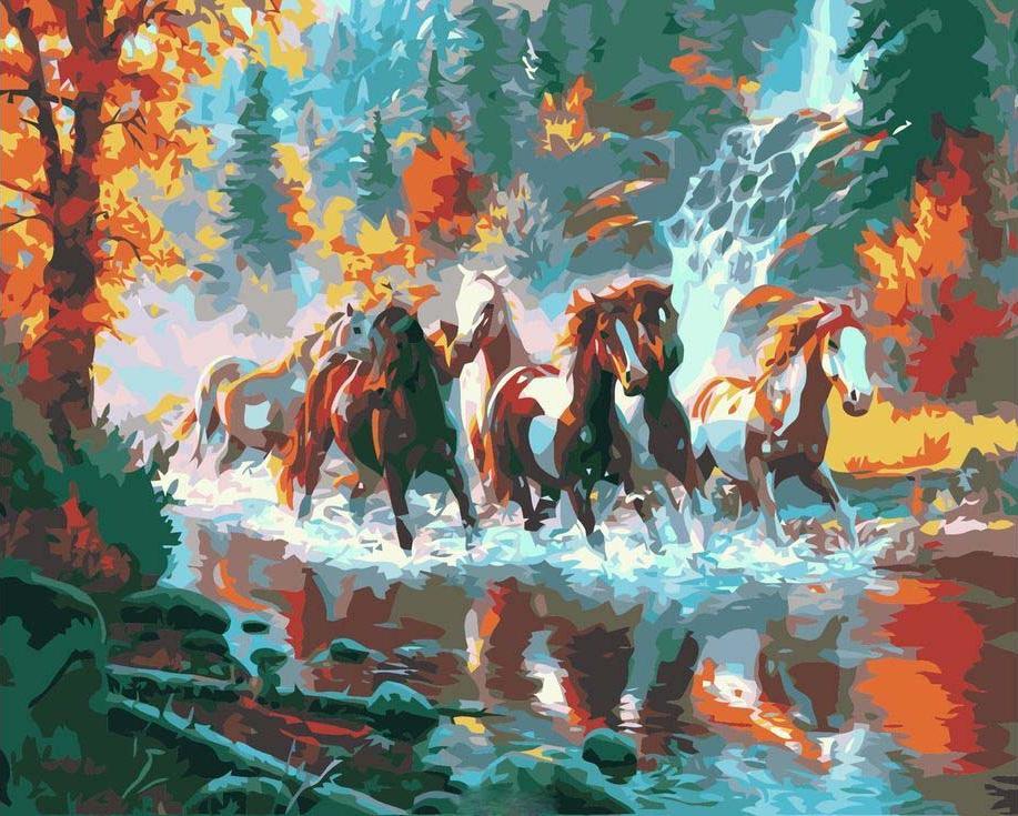 «Лошади у водопада»Цветной (Premium)<br><br><br>Артикул: MG3296_Z<br>Основа: Холст<br>Сложность: сложные<br>Размер: 40x50 см<br>Количество цветов: 25<br>Техника рисования: Без смешивания красок