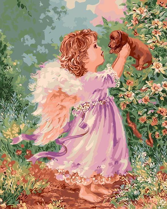 «Ангел со щенком»Раскраски по номерам Menglei (Standart)<br><br><br>Артикул: MG6041_S<br>Основа: Холст<br>Сложность: сложные<br>Размер: 40x50 см<br>Количество цветов: 24<br>Техника рисования: Без смешивания красок
