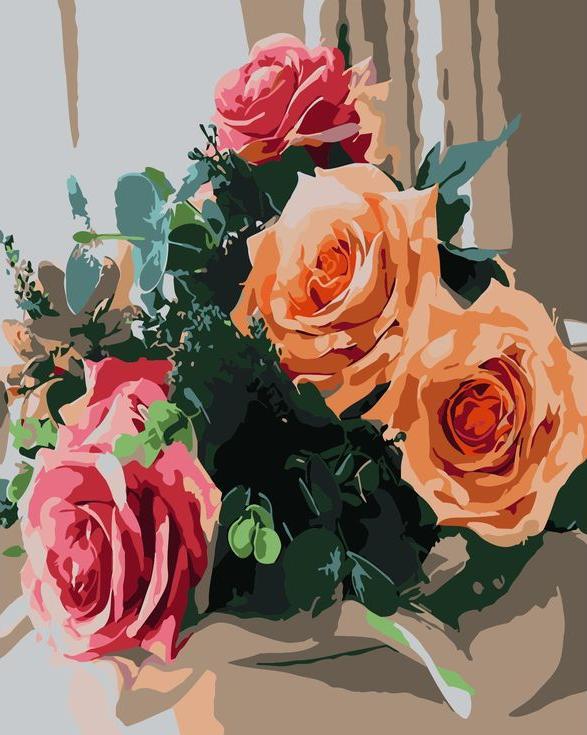 «Букет роз на окне»Раскраски по номерам Menglei (Standart)<br><br><br>Артикул: MG6060_S<br>Основа: Холст<br>Сложность: средние<br>Размер: 40x50 см<br>Количество цветов: 24<br>Техника рисования: Без смешивания красок