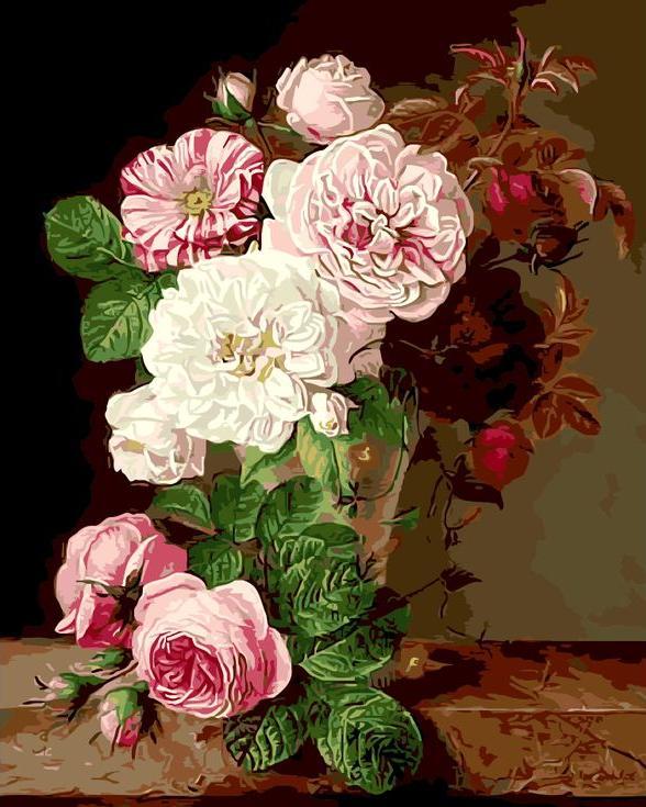 «Букет роз» Луиз ДандлоЦветной (Premium)<br><br><br>Артикул: MG6067_Z<br>Основа: Холст<br>Сложность: сложные<br>Размер: 40x50 см<br>Количество цветов: 25<br>Техника рисования: Без смешивания красок