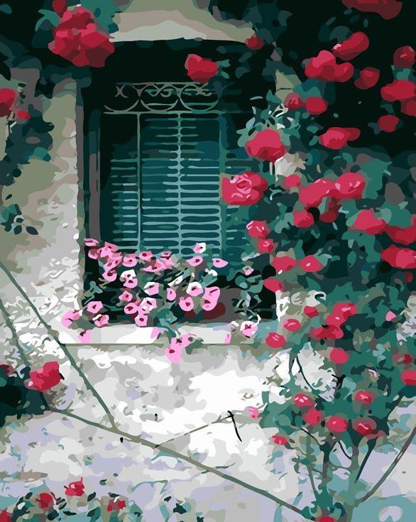 «Окно в цветах»Раскраски по номерам Menglei (Standart)<br><br><br>Артикул: MG6120_S<br>Основа: Холст<br>Сложность: сложные<br>Размер: 40x50 см<br>Количество цветов: 24<br>Техника рисования: Без смешивания красок