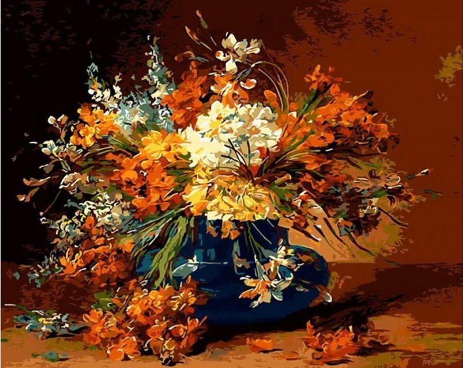 «Натюрморт с цветами» Эдмонда Ван КопенноллиРаскраски по номерам Menglei (Standart)<br><br><br>Артикул: MG6138_S<br>Основа: Холст<br>Сложность: сложные<br>Размер: 40x50 см<br>Количество цветов: 24<br>Техника рисования: Без смешивания красок
