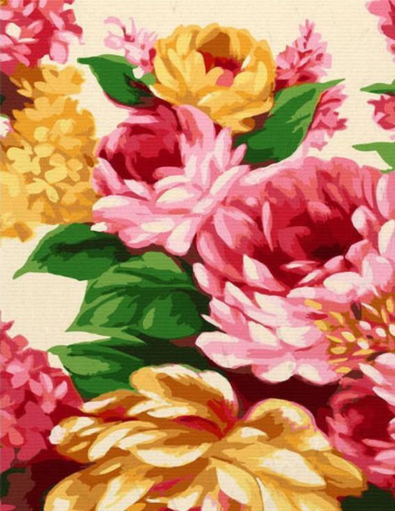 «Пышный букет»Цветной (Premium)<br><br><br>Артикул: MG6226_Z<br>Основа: Холст<br>Сложность: сложные<br>Размер: 40x50 см<br>Количество цветов: 25<br>Техника рисования: Без смешивания красок