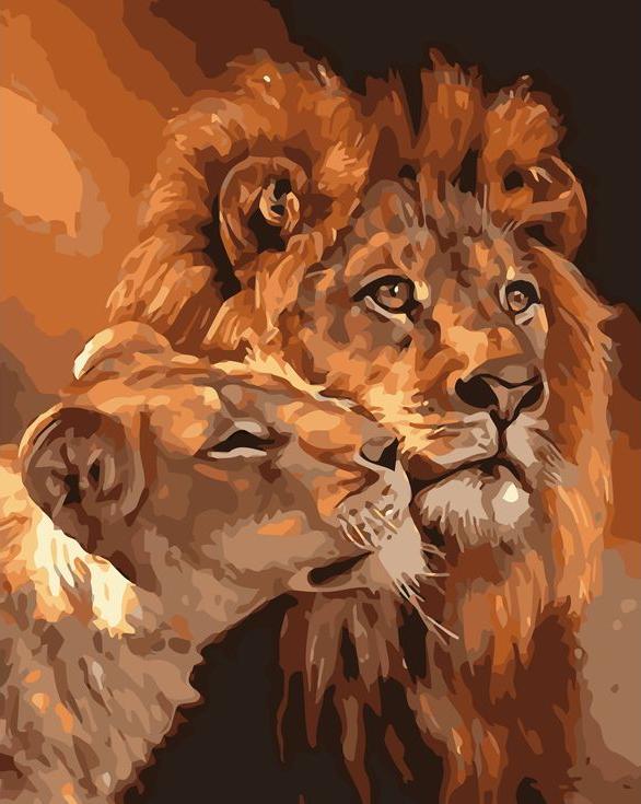 «Львиная любовь»Раскраски по номерам Menglei (Standart)<br><br><br>Артикул: MG6235_S<br>Основа: Холст<br>Сложность: сложные<br>Размер: 40x50 см<br>Количество цветов: 21<br>Техника рисования: Без смешивания красок