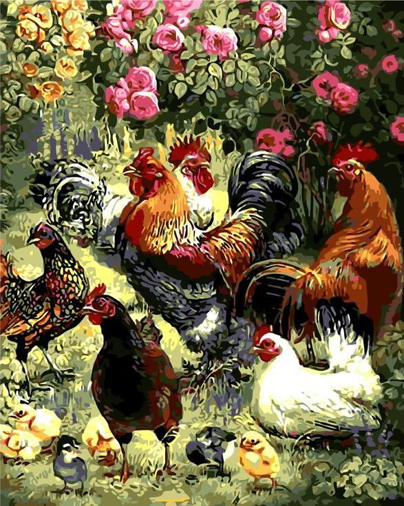 «Птичий двор»Раскраски по номерам Menglei (Standart)<br><br><br>Артикул: MG6236_S<br>Основа: Холст<br>Сложность: сложные<br>Размер: 40x50 см<br>Количество цветов: 24<br>Техника рисования: Без смешивания красок