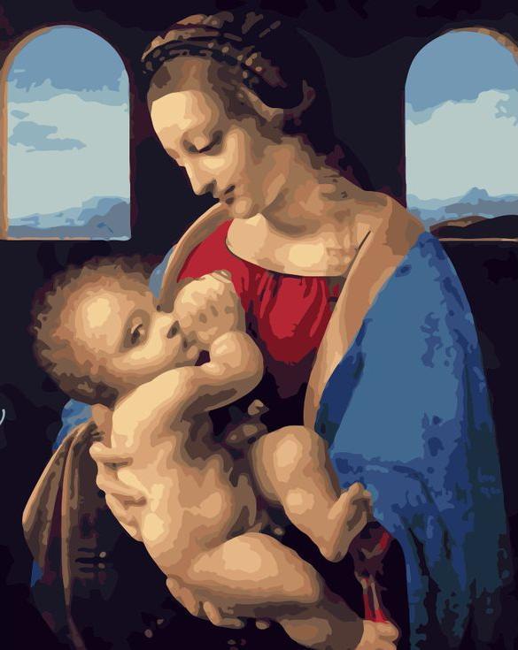 «Мадонна Литта» Леонардо да ВинчиРаскраски по номерам Menglei (Standart)<br><br><br>Артикул: MG6285_S<br>Основа: Холст<br>Сложность: сложные<br>Размер: 40x50 см<br>Количество цветов: 24<br>Техника рисования: Без смешивания красок