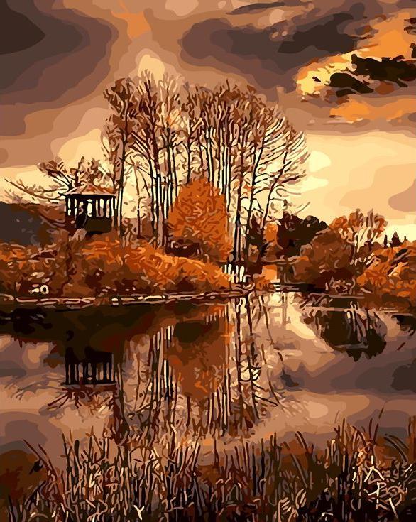 «Осенний пейзаж»Раскраски по номерам Menglei (Standart)<br><br><br>Артикул: MG7103_S<br>Основа: Холст<br>Сложность: сложные<br>Размер: 40x50 см<br>Количество цветов: 24<br>Техника рисования: Без смешивания красок