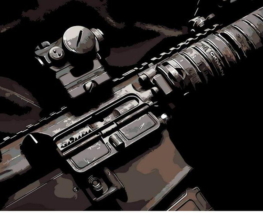 «Штурмовая винтовка»Раскраски по номерам Menglei (Standart)<br><br><br>Артикул: MG721_S<br>Основа: Холст<br>Сложность: средние<br>Размер: 40x50 см<br>Количество цветов: 11<br>Техника рисования: Без смешивания красок