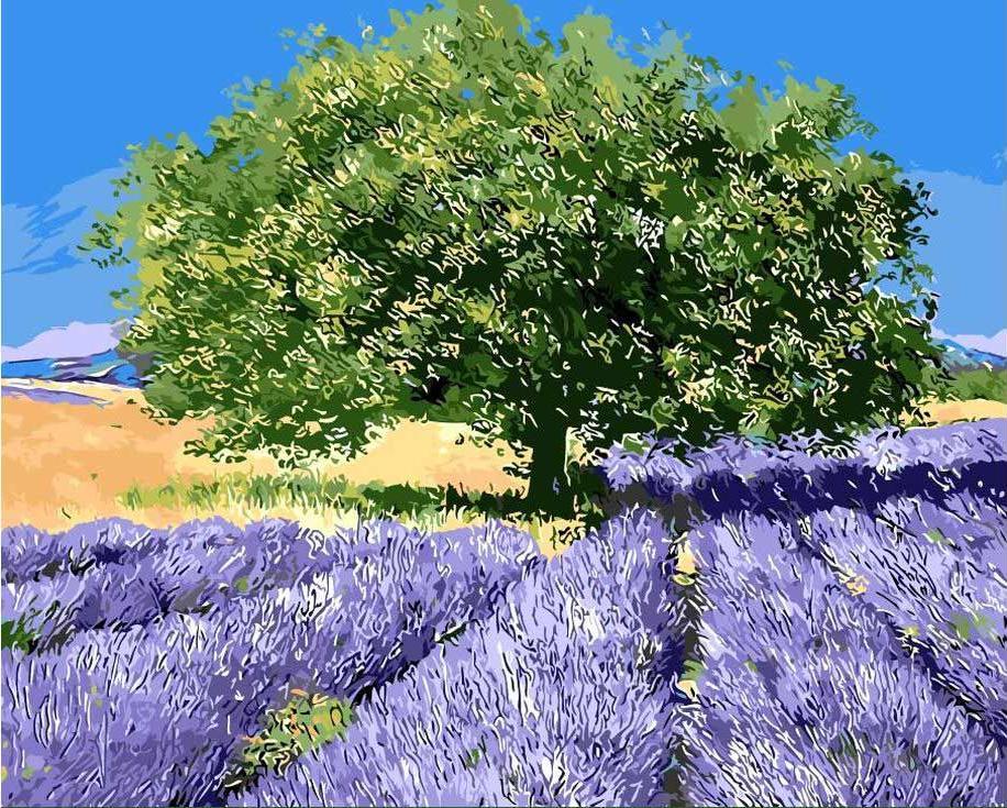 «Лавандовый пейзаж» Жан Марка ЖаньячикаЦветной (Premium)<br><br><br>Артикул: MG7628_Z<br>Основа: Холст<br>Сложность: сложные<br>Размер: 40x50 см<br>Количество цветов: 25<br>Техника рисования: Без смешивания красок