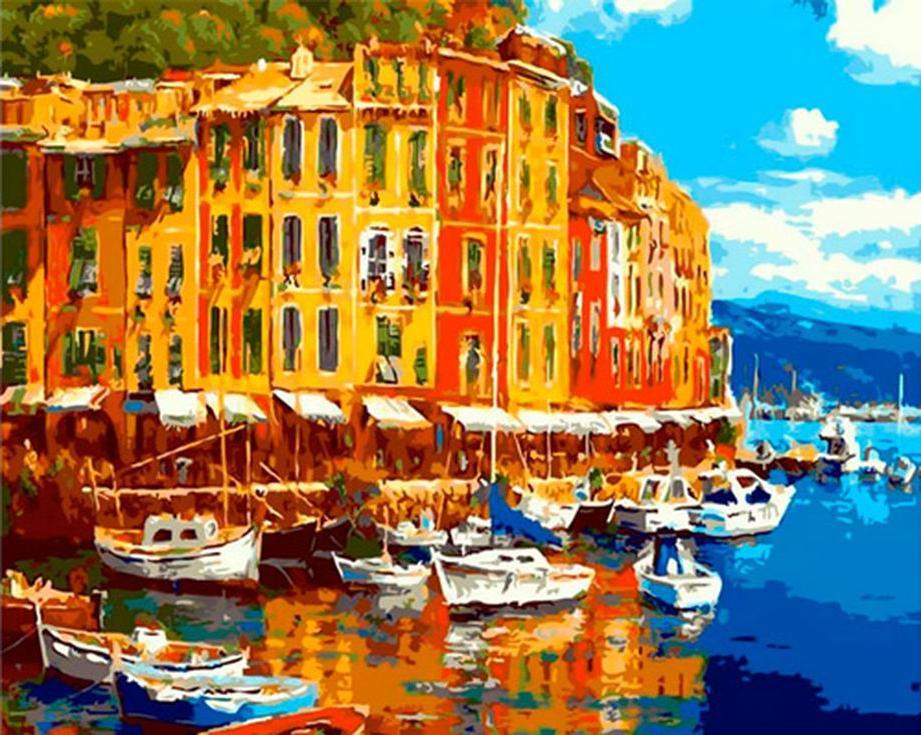 «Итальянская набережная»Цветной (Premium)<br><br><br>Артикул: MG7798_Z<br>Основа: Холст<br>Сложность: сложные<br>Размер: 40x50 см<br>Количество цветов: 25<br>Техника рисования: Без смешивания красок
