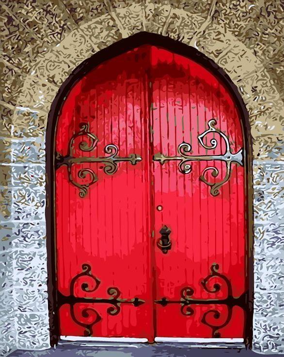 «Красная дверь»Раскраски по номерам Menglei (Standart)<br><br><br>Артикул: MG8220_S<br>Основа: Холст<br>Сложность: средние<br>Размер: 40x50 см<br>Количество цветов: 21<br>Техника рисования: Без смешивания красок